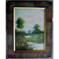 Framed watercolor, landscape with house and