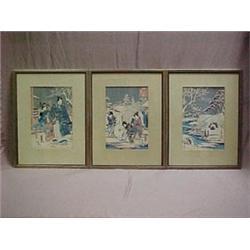 Three framed Japanese woodblock prints, eac
