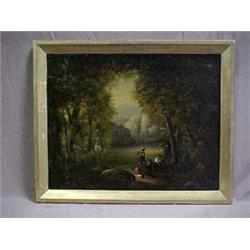 Framed oil on board, landscape with figures