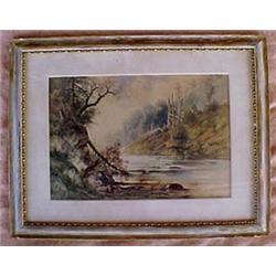 Framed watercolor landscape signed Carl Ph.