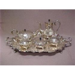 Silver plated six piece tea and coffee serv