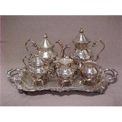 Six piece silver plated tea and coffee serv