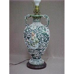 Moriage lamp in urn form, applied Buddha fi