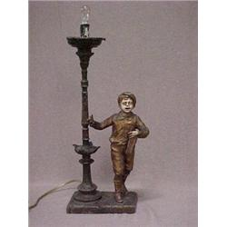 Metal lamp with free standing lamp post and