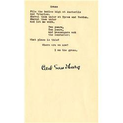 Carl Sandburg Signed Poem