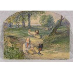 """W/C Painting Signed """"B.F. (Birket Foster) of Playful Boys, Ca. 1900"""