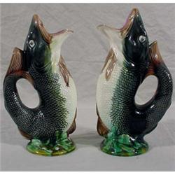 Pair of Majolica Fish Pitchers
