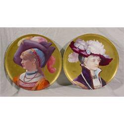 """Pair """"H. Catelin"""" Round Painted Porcelain Portrait Plaques"""