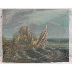 """O/C Painting Signed """"Jim Sherwood"""" of Seascape"""
