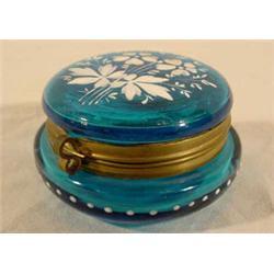 Teal Blue Victorian Art Glass Patch Box