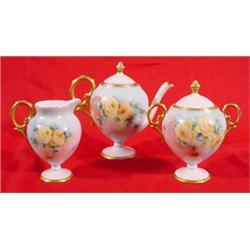 3 Piece Hand Painted China Tea Set, Ca. 1910