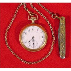 """""""Zenith Watch Co."""" Open Face Pocket Watch & pen Knife"""