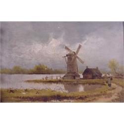 """""""H. Von Stahl"""" O/C Painting Entitled """"Holland Landscape"""""""