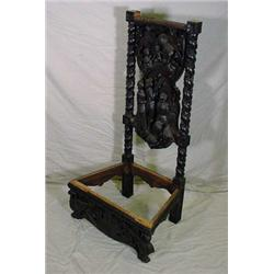 Heavily Carved Oak Throne Chair, 19th C.