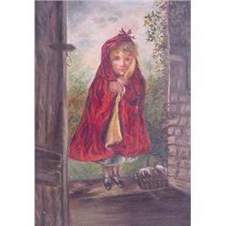 """O/C Signed """"Littlefield"""" of Girl in Doorway"""