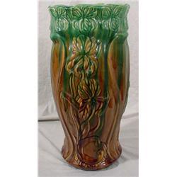 Majolica Planter with Iris Relief Decoration