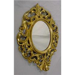 Gilded Gesso Over Carved Wood Mirror
