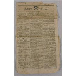 "1809 Edition of ""Political Reporter"" Newspaper form Leominster, Ma"