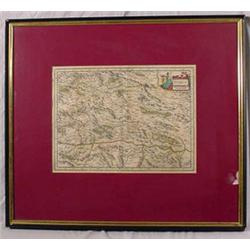 """Framed Hand Colored Map of """"Stiria"""""""