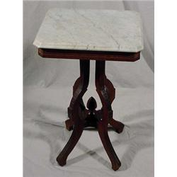 East Lake Victorian Walnut Marble Top Table