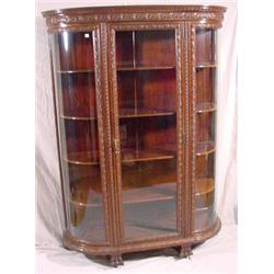 Curved Glass Carved Mahogany China Cabinet