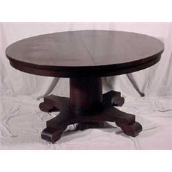 Empire Style Round Extension Dining Table w/ leaves, Ca. 1900