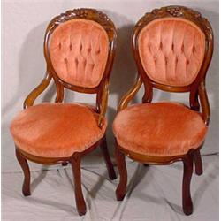 Pair of Carved Walnut Victorian Parlor Chairs