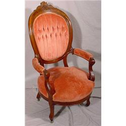 Carved Walnut Victorian Arm Chair