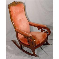 Victorian Walnut Carved Rocker