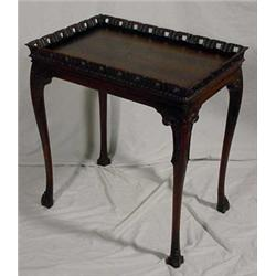 Chippendale Style Carved Walnut Tray Top Table