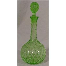 Electric Green Cut Crystal Decanter