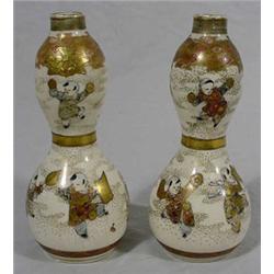 Pair of Satsuma Gourd Form Bottles