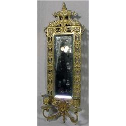Cast Brass Candle Sconce With Mirror