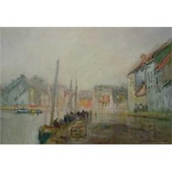 """""""James Cantwell"""" Water Color Painting of Harbor Scene"""