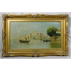 """""""Rico"""" Apocryphally Signed O/C Painting Entitled """"On The Grand Canal"""""""