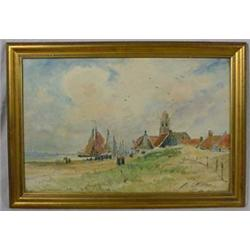 """""""F.A. Carter"""" (1855 - 1931) Signed Water Color of Harbor Scene"""