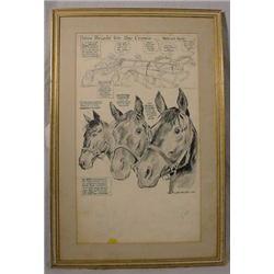 """""""Willard Mullen"""" (1902-1978) Ink & W/C Illustration """"Three Heads For The Crown"""""""