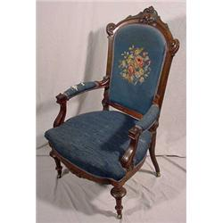 Carved Victorian Walnut Arm Chair