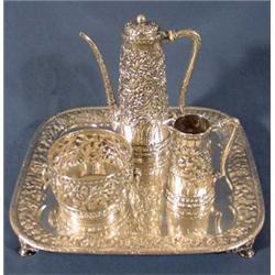 "Tiffany & Company"" Incredible 4 Piece Reposse Tea Set, Ca. 1880"