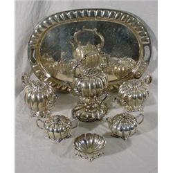 Mexican Sterling Melon Form 7 Pc. Tea & Coffee Service, 317 Troy Oz.