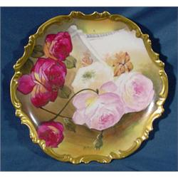 """""""Limoges France"""" Hand Painted 10.25"""" Diameter Plate"""
