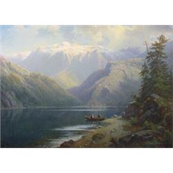 """""""Otto Press """" (? - 1888) Signed O/C Painting of Mountain Landscape, 19th C."""