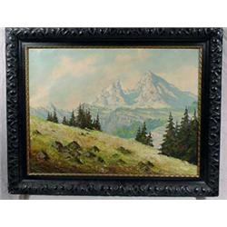 """""""F. Baumgarten"""" Signed O/C Painting of Mountainscape"""