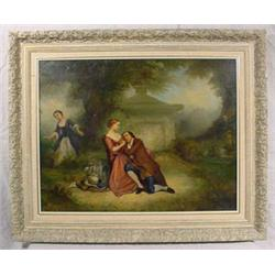 """Nurbin 1863"" Signed O/C Painting of Courting Couple in Garden"