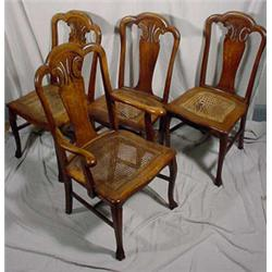 Set of 4 Quartered Oak Victorian Dining Chairs W/ Cane Seats, Ca. 1890
