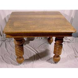 Victorian Oak Extension Dining Table W/ 2 Leaves, Ca. 1890