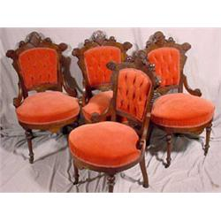 Set of 4 Victorian East Lake Parlor Chairs, Ca. 1870