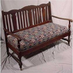 Oak Slip Seat Bench, Ca. 1900
