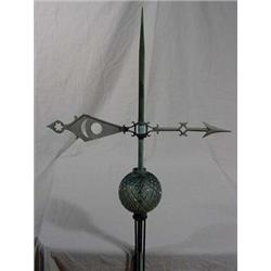 Lightening Rod with Directional Wind Arrow & Quilted Glass Lightening Ball