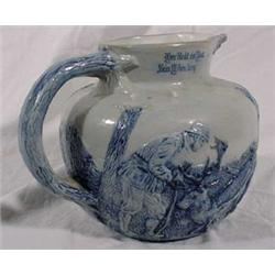 Salt Glaze Stoneware Pitcher of German Hunters & Deer